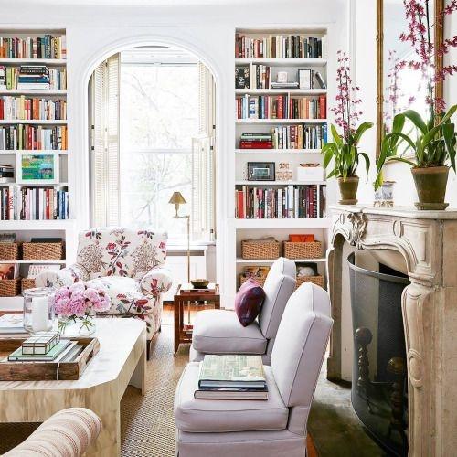 salon z biblioteczką